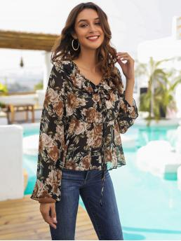 Casual Floral Top Regular Fit V neck Long Sleeve Regular Sleeve Pullovers Multicolor Regular Length Tie Front Ruffle Large Floral Blouse