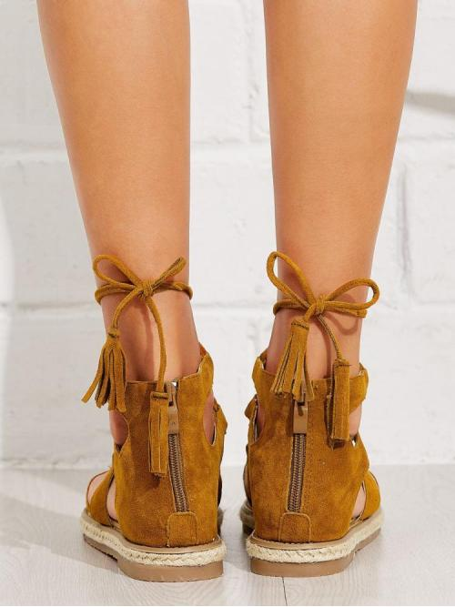 Trending now Corduroy Brown Gladiator Sandals Tassel Tie Sandals