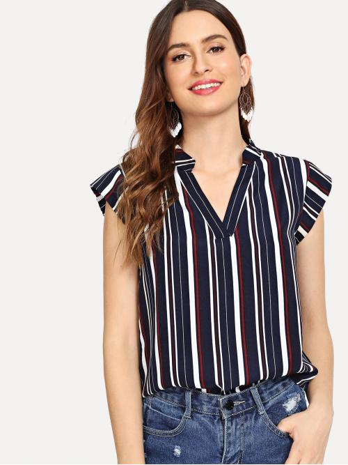 Cap Sleeve Top Ruffle Polyester Notch Neck Top on Sale