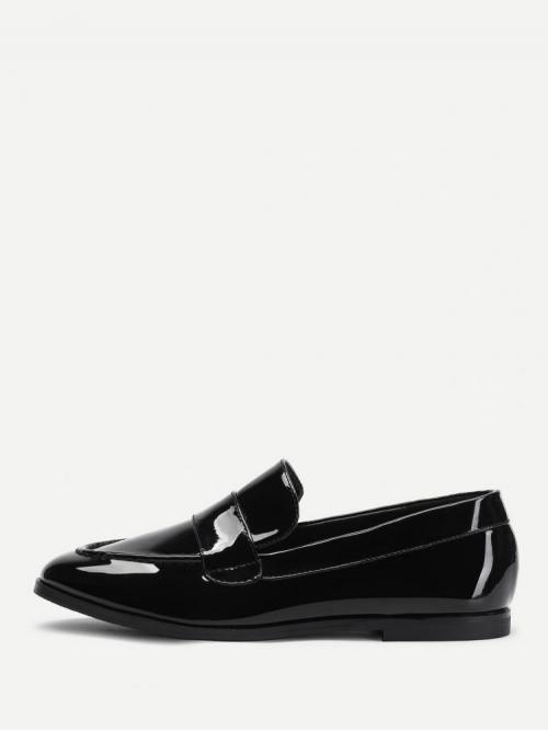 Fashion Corduroy Black Loafers Buckle Patent Leather Loafer Dress Shoes