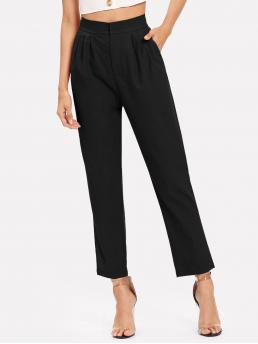Elegant Plain Tapered/Carrot Regular Zipper Fly High Waist Black Cropped Length Pleated Solid Pants