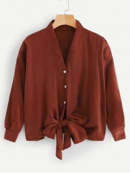 Casual Plain Shirt Regular Fit V neck Long Sleeve Placket Red Regular Length Button Through Knot Hem Solid Blouse