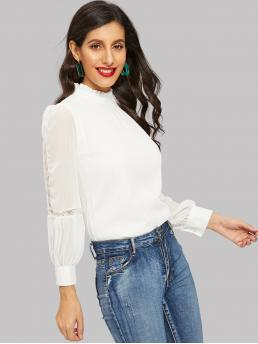 Elegant Plain Top Regular Fit Stand Collar Long Sleeve Pullovers White Regular Length Contrast Lace Ruffle Neck Bishop Sleeve Blouse with Lining