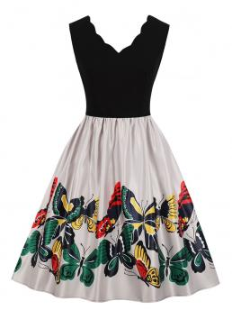 Vintage A Line Animal Ball Gown Sleeveless Natural Multicolor Midi Length 50s Cut And Sew Butterfly Print Dress