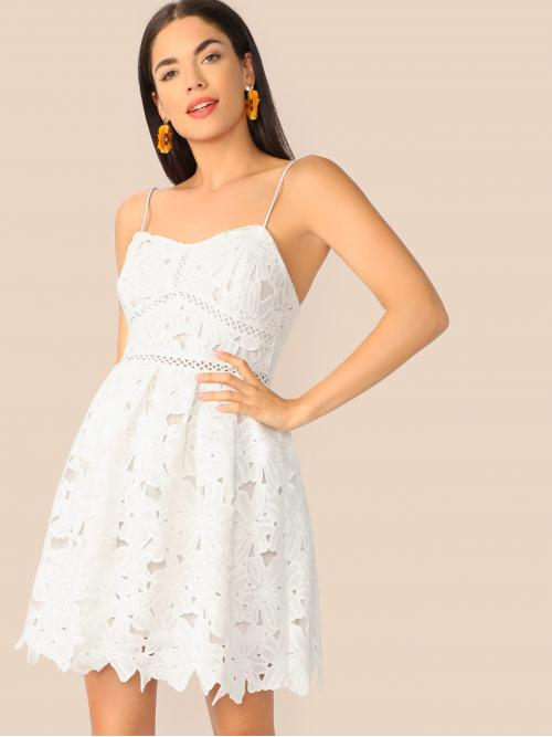 Romantic A Line Plain Flared Regular Fit Spaghetti Strap Sleeveless High Waist White Short Length Guipure Lace Skater Cami Dress with Lining