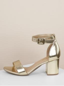 Business Casual Open Toe Plain Ankle Strap Gold Mid Heel Chunky Metallic Gold Thin Ankle Strap High Heels