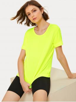 Casual Plain Regular Fit Round Neck Short Sleeve Pullovers Yellow and Bright Regular Length Neon Lime Solid Tee