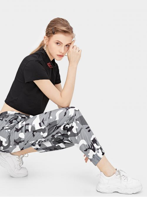 Sporty Camo Sweatpant Regular Drawstring Waist Mid Waist Multicolor Cropped Length Camouflage Print Drawstring Waist Pants