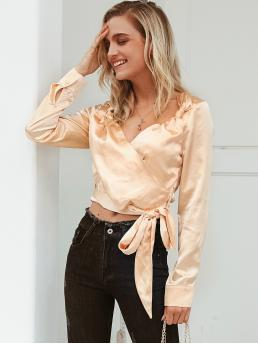 Glamorous Plain Tight Hem Shirt Regular Fit V neck Long Sleeve Regular Sleeve Placket Gold Regular Length Simplee Solid Wrap Knotted Belt Satin Blouse with Belt