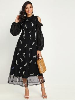 Glamorous A Line Graphic Flared Regular Fit Stand Collar Long Sleeve Bishop Sleeve High Waist Black Long Length Frill Cold Shoulder Lantern Sleeve Embroidery Mesh Overlay Dress