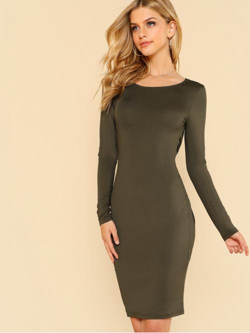 Glamorous and Sexy Bodycon Plain Pencil Slim Fit Scoop Neck Long Sleeve Natural Army Green Short Length Twist V Back Slit Fitted Dress