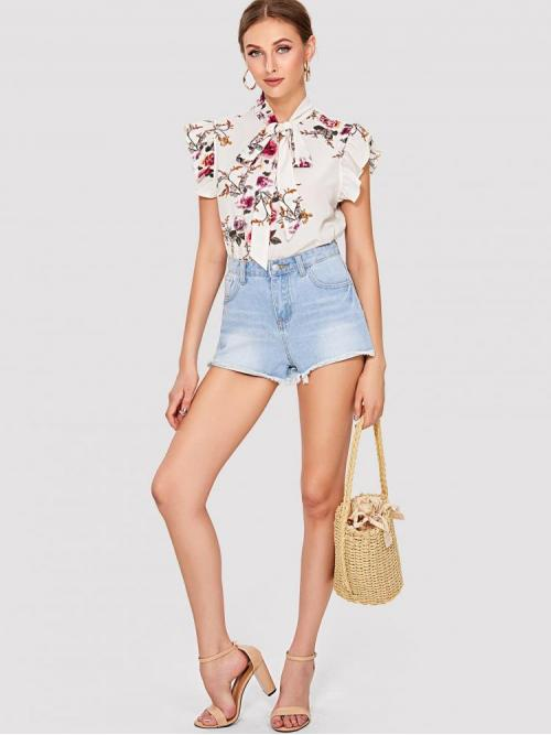 Discount Sleeveless Top Ruffle Polyester Flounce Shoulder Tied Neck Blouse