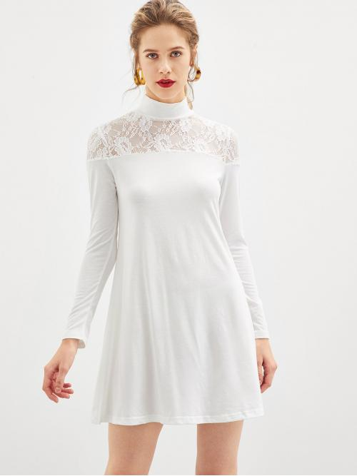 White Plain Contrast Lace Stand Collar Sheer Lace Yoke Tee Dress Fashion