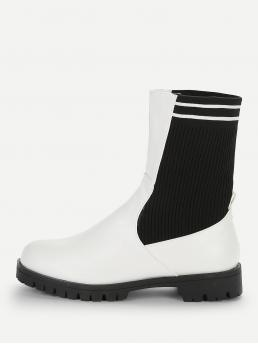 Comfort Other Round Toe No zipper White Mid Heel Striped Detail Sock Boots