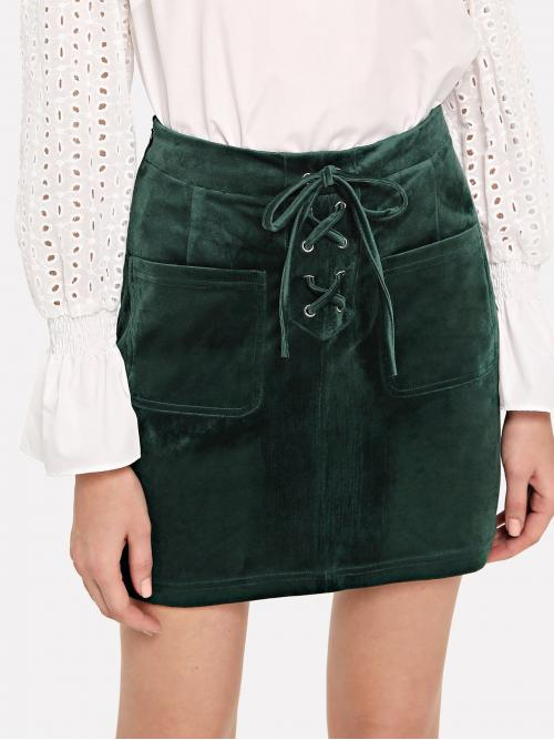 Affordable Green High Waist Lace up Straight Patch Pocket Front
