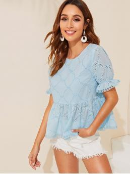 Cute and Boho Plain Flared Peplum Regular Fit Round Neck Short Sleeve Pullovers Blue and Pastel Regular Length Flounce Sleeve Schiffy Peplum Top