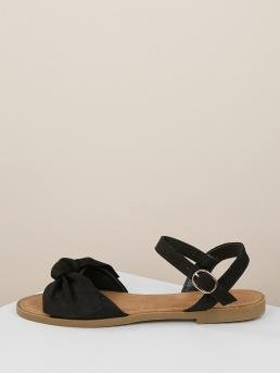 Comfort Ankle Strap Black Open Toe Bow Front Buckled Ankle Flat Sandals