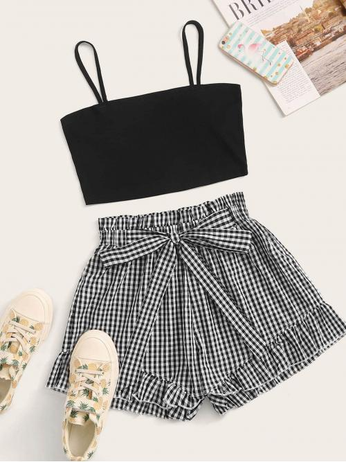 Casual Gingham Regular Fit Spaghetti Strap Sleeveless Black and White Solid Crop Cami Top & Self Tie Gingham Shorts with Belt