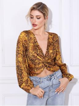 Sexy Snakeskin Print Top Regular Fit Deep V Neck Long Sleeve Bishop Sleeve Pullovers Multicolor Crop Length Double Crazy Snakeskin Print Twist Front Blouse