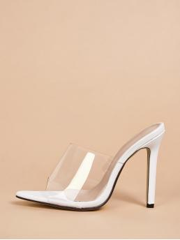 Glamorous Open Toe Plain White High Heel Stiletto Peep Toe Clear Stiletto Heeled Mules