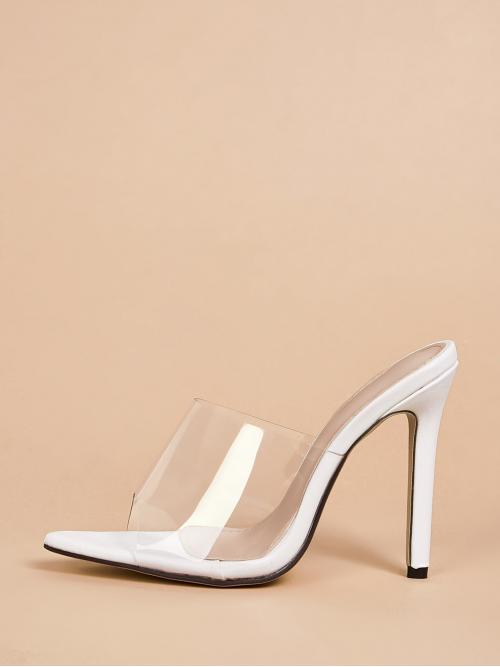 Glamorous Open Toe White High Heel Stiletto Peep Toe Clear Stiletto Heeled Mules