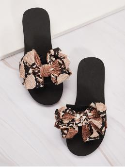 Comfort Snakeskin Print Multicolor Bow Decor Snakeskin Open Toe Slippers