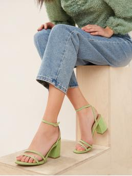 Business Casual Plain Ankle Strap Green High Heel Chunky Strappy Open Toe Square Heel Sandals