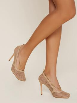 Clearance Camel Court Pumps Cut out High Heel Chain Accent Meshs