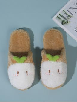 Ladies Khaki Novelty Slippers Embroidery Round Toe Fuzzy Design Slippers