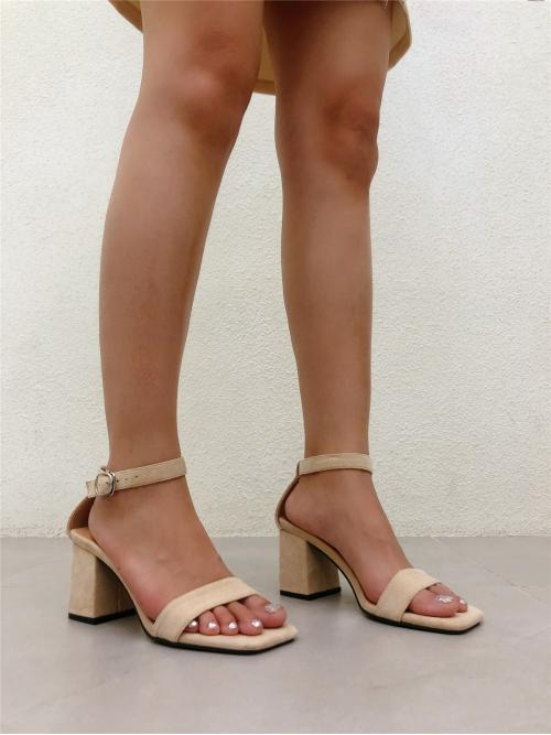 Apricot Strappy Sandals High Heel Chunky Two Part Heeled Sandals Fashion
