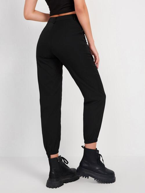 Black High Waist Zipper Letter Graphic Flap Detail Joggers with Shopping