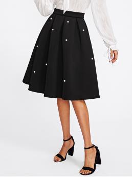 Beautiful Black Natural Waist Pearls Flared Pearl Embellished Boxed Pleated Circle Skirt