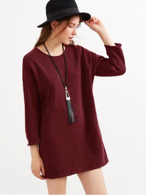 Burgundy Plain Pocket Round Neck Marled Knit Dress Cheap