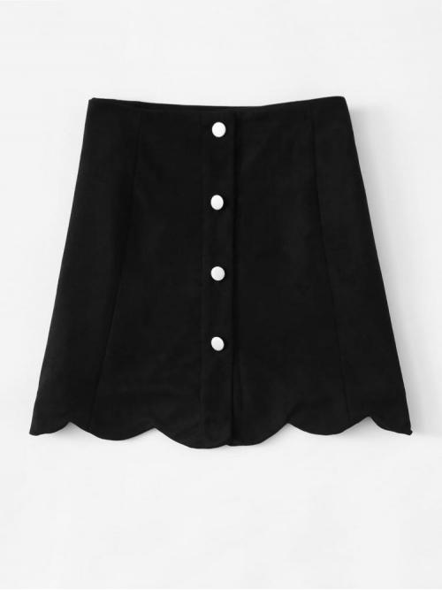 Clearance Black Natural Waist Scallop a Line Hem Single Breasted Suede