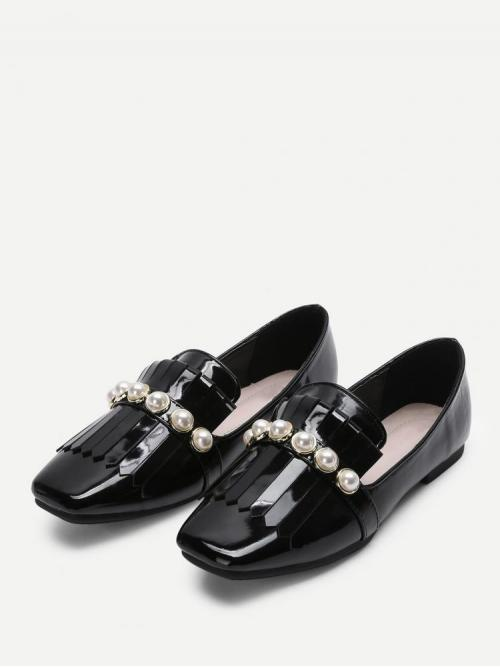 Ladies Velvet Black Loafers Tassel Faux Pearl & Fringe Detail Flats