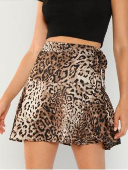 Casual A Line Leopard High Waist Multicolor Mini Length Leopard Flared Mini Skirt with Lining