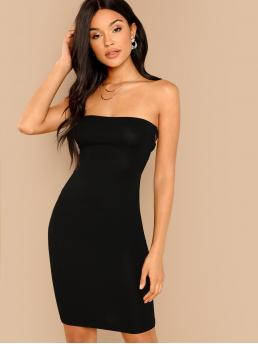 Women's Black Plain Lace up Strapless Back Bodycon Tube Dress