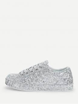 Sporty Round Toe Silver Lace Up Glitter Trainers