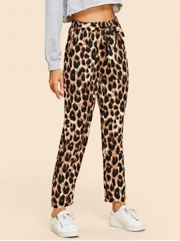 Casual Leopard Regular Drawstring Waist Mid Waist Multicolor Cropped Length Leopard Print Self Tie Pants