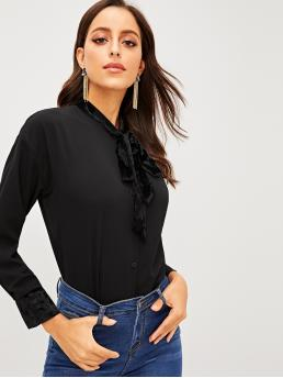 Casual Plain Asymmetrical Shirt Regular Fit Stand Collar Long Sleeve Regular Sleeve Placket Black Regular Length Velvet Tie Neck Dip Hem Shirt