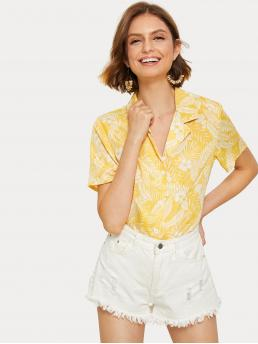 Casual Plants Shirt Regular Fit Notched Short Sleeve Placket Multicolor Regular Length Plants Print Single Breasted Blouse