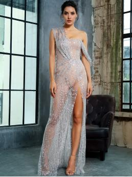 Glamorous and Sexy Slit One Shoulder Sleeveless High Waist Blue and Pastel Maxi Length LOVE&LEMONADE Split Thigh Sheer Maxi Sequin Mesh Dress with Chest Pad with Lining
