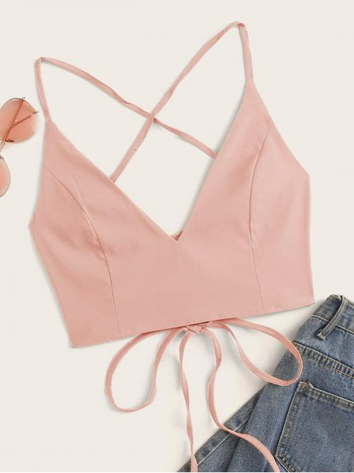 Sexy Cami Plain Slim Fit Spaghetti Strap Pink Crop Length Solid Lace Up Tie Back Top