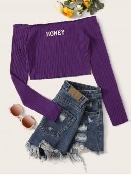 Sexy Letter Slim Fit Off the Shoulder Long Sleeve Regular Sleeve Pullovers Purple Regular Length Off Shoulder Letter Graphic Rib-knit Top