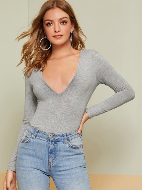 Sexy Plain Slim Fit Deep V Neck Long Sleeve Regular Sleeve Pullovers Grey Regular Length Plunging Heather Grey Tee