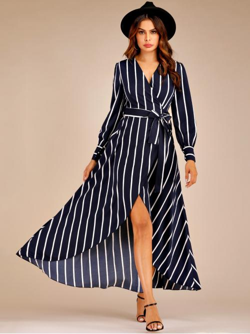 Casual A Line Striped Regular Fit V neck Long Sleeve Regular Sleeve High Waist Navy Maxi Length Striped Belted Maxi Wrap Dress with Belt