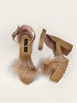 Women's Brown Strappy Sandals Feather High Heel Faux Fluffy Decor Heels