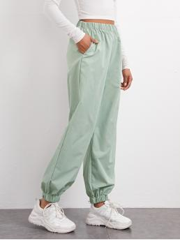 Discount Mint Green High Waist Pocket Plain Side Jogger Pants