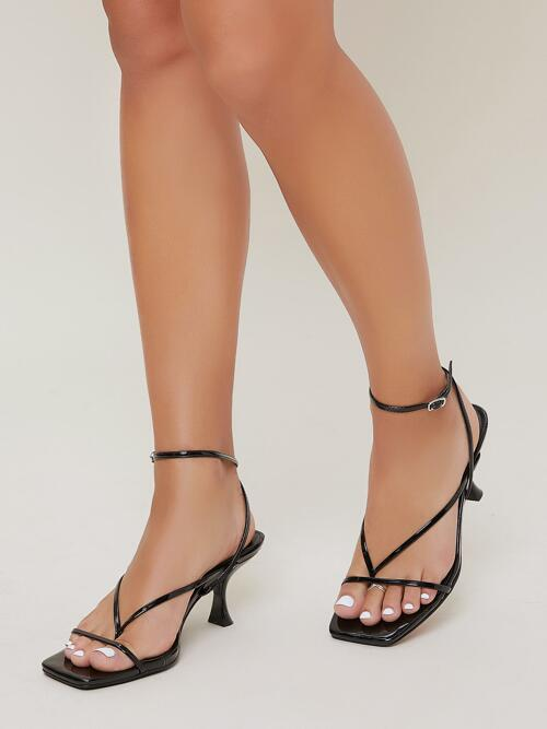 Fashion Black Strappy Sandals Buckle Mid Heel Faux Square Toe Self-tie Heels