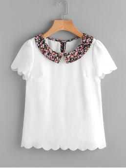 Cute Floral Top Regular Fit Collar Short Sleeve White Contrast Ditsy Floral Collar Scallop Trim Blouse